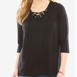 NWT Woman Within Rib Knit Lace-up Tee
